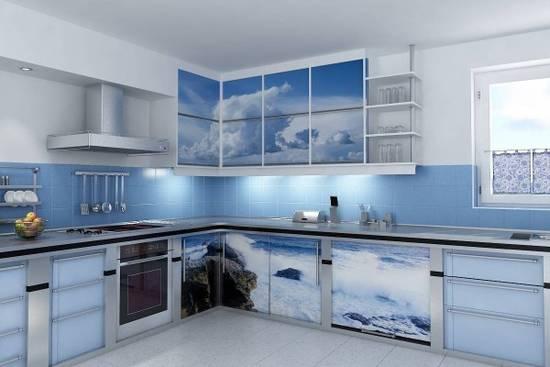 небесный интерьер кухни